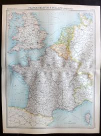 Bartholomew 1922 Large Map. France, Belgium & Holland, Political